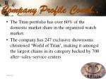company profile contd