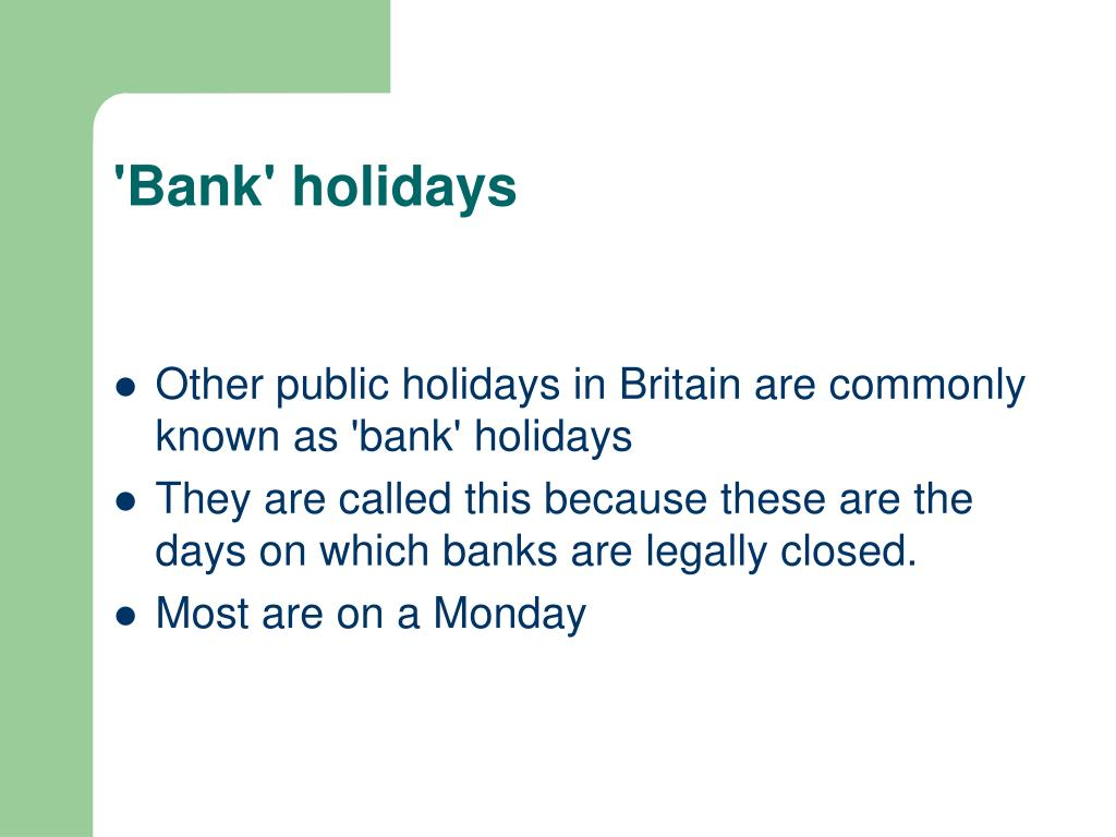 'Bank' holidays