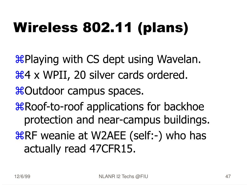 Wireless 802.11 (plans)