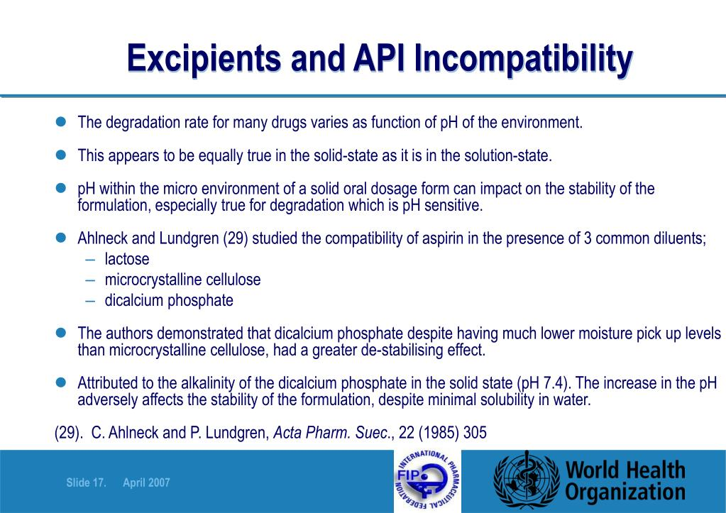 Excipients and API Incompatibility
