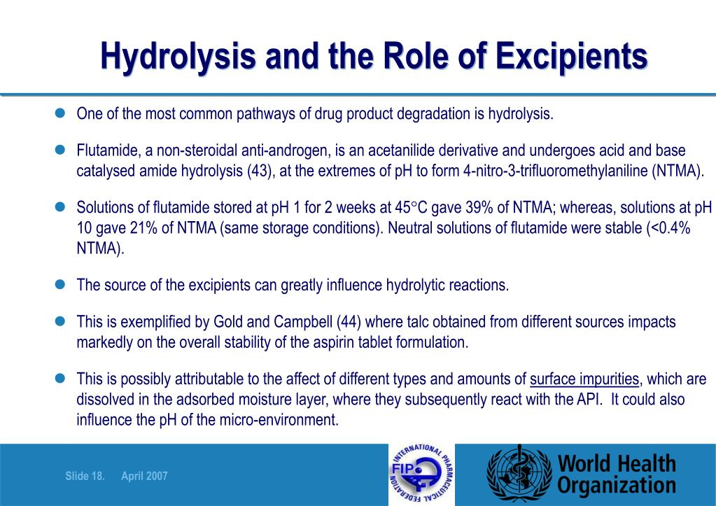 Hydrolysis and the Role of Excipients