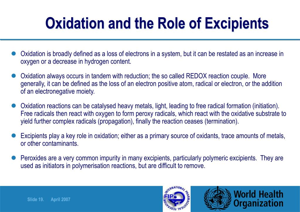 Oxidation and the Role of Excipients