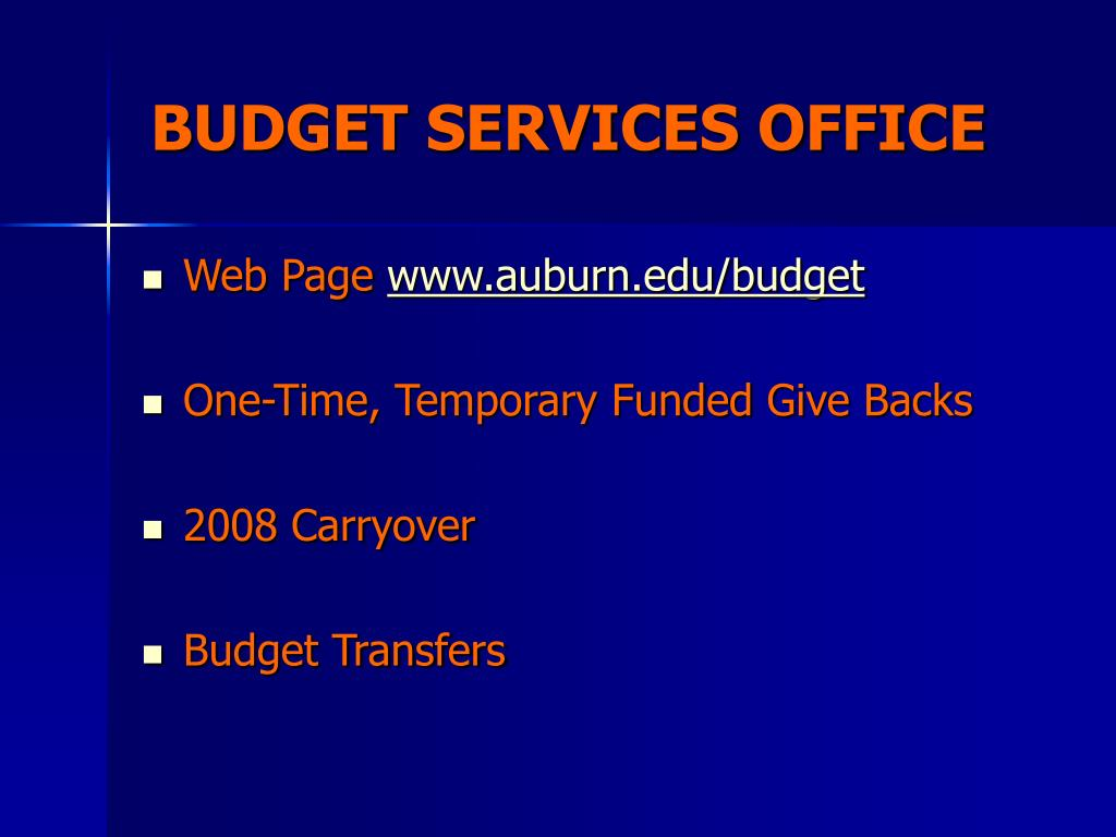 BUDGET SERVICES OFFICE