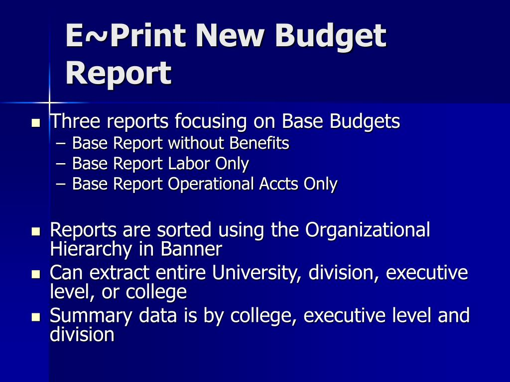E~Print New Budget Report