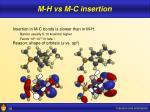 m h vs m c insertion