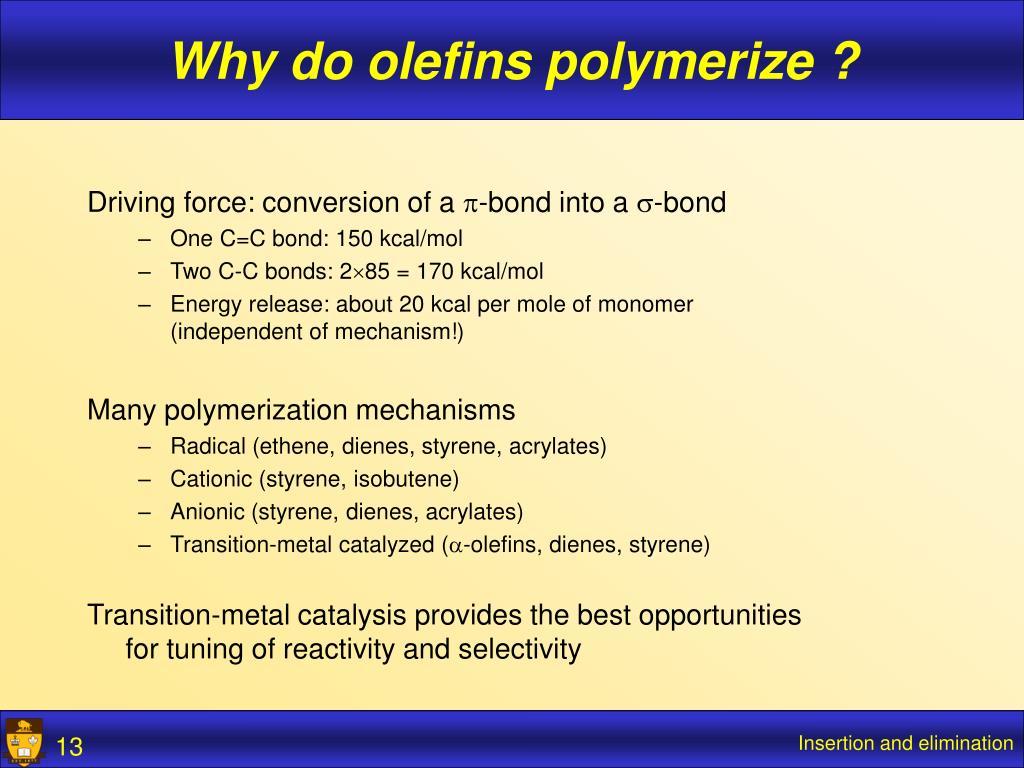 Why do olefins polymerize ?