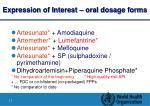 expression of interest oral dosage forms