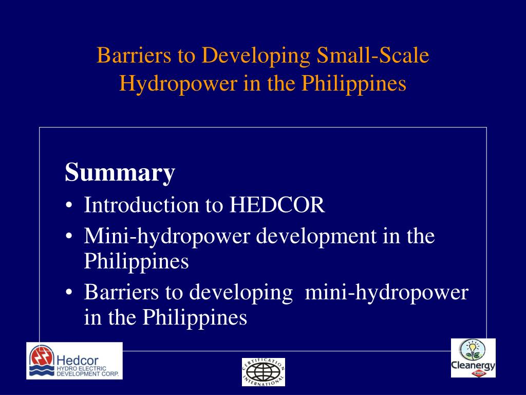Barriers to Developing Small-Scale Hydropower in the Philippines