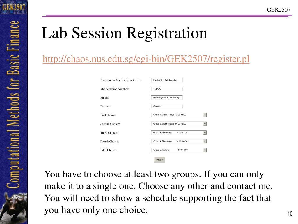 Lab Session Registration