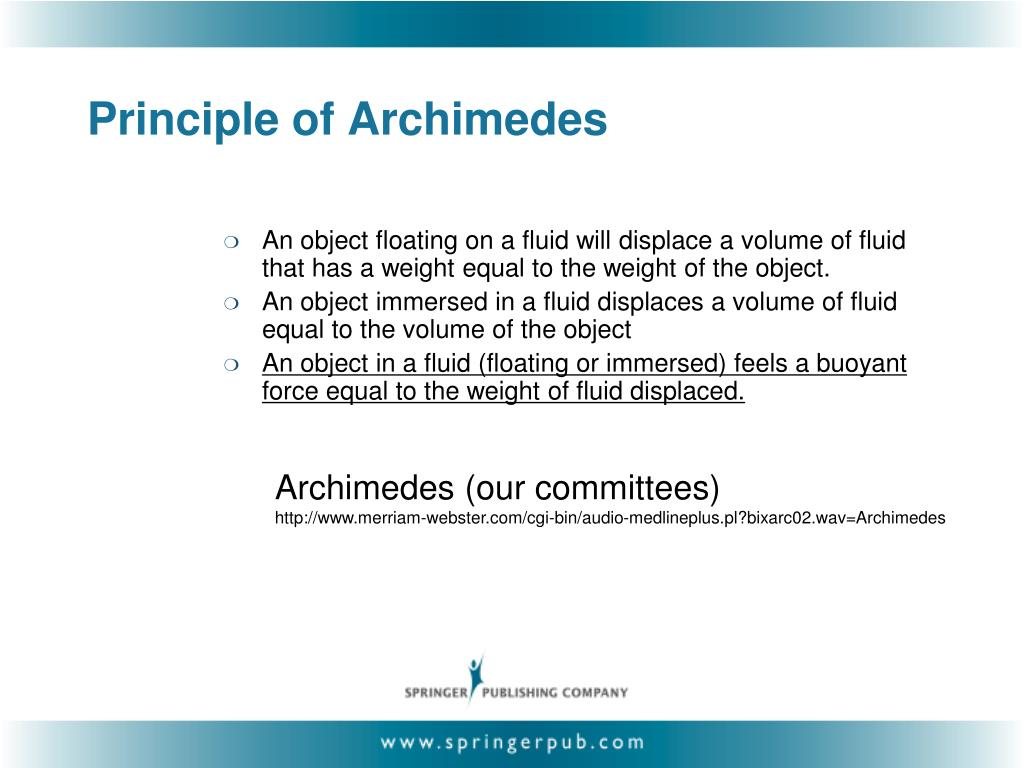 Principle of Archimedes