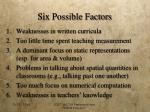 six possible factors