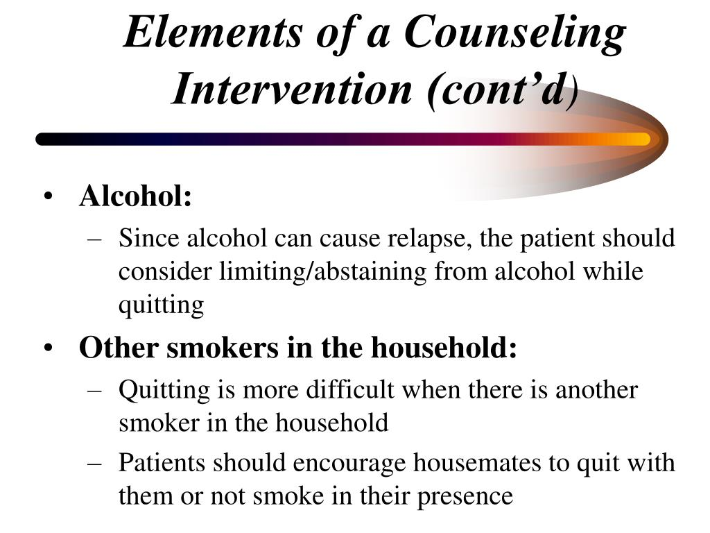 Elements of a Counseling Intervention (cont'd