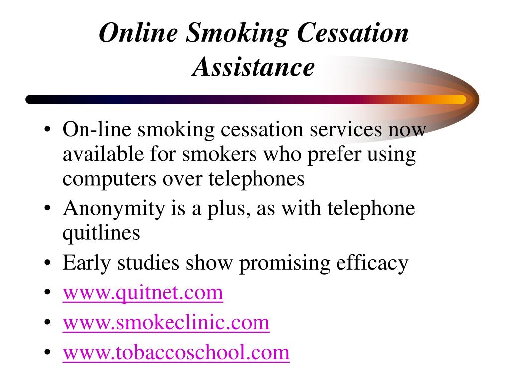 Online Smoking Cessation Assistance