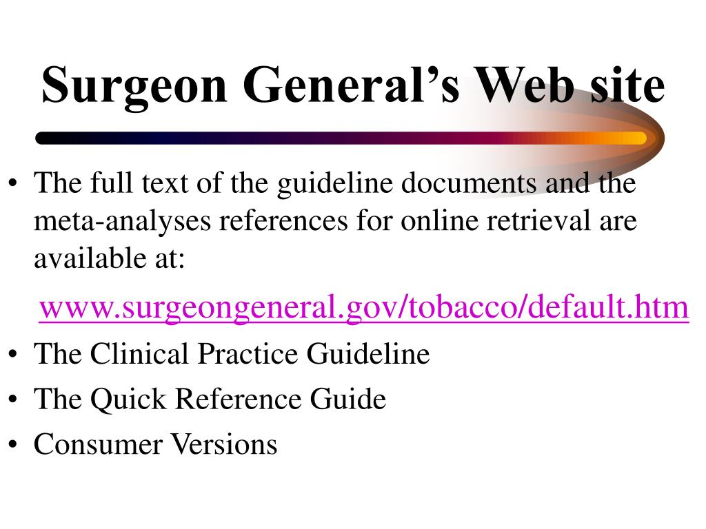 Surgeon General's Web site