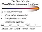 the five a s of a three minute intervention continued