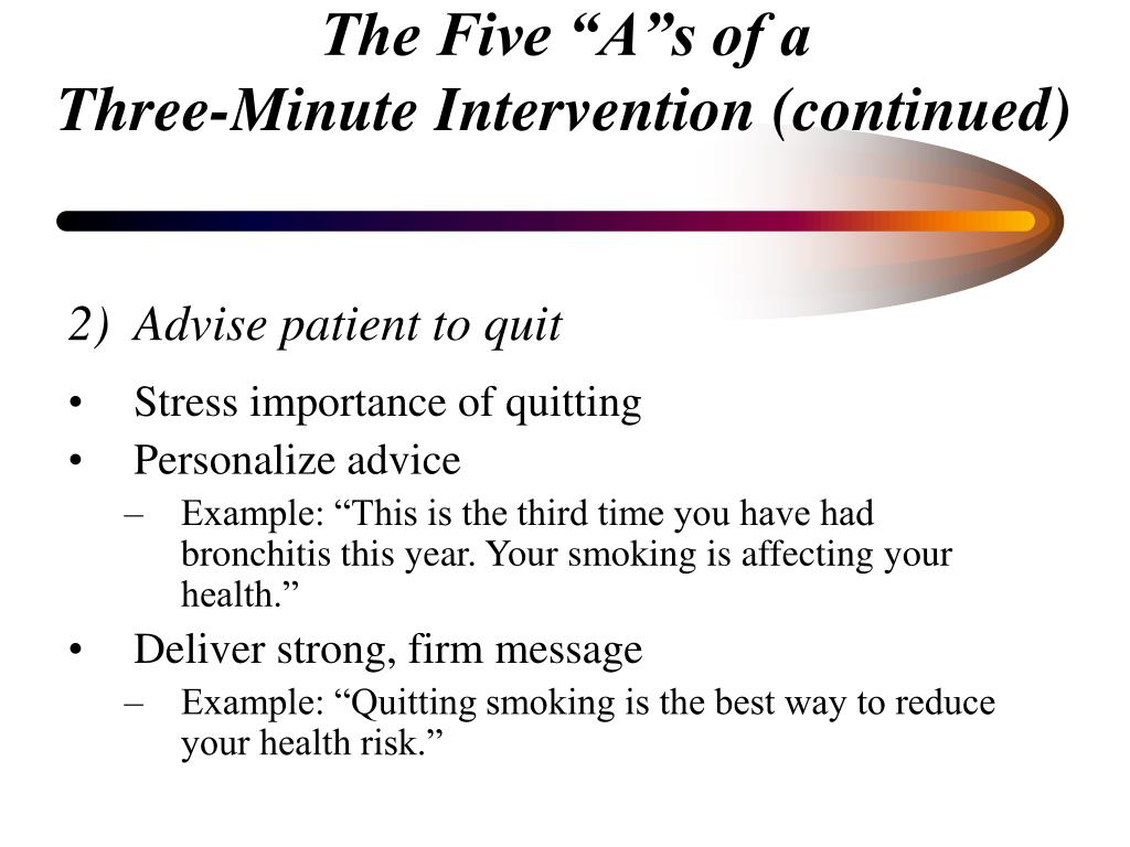 Advise patient to quit