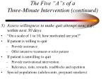 the five a s of a three minute intervention continued95