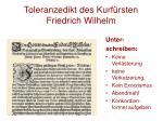 toleranzedikt des kurf rsten friedrich wilhelm