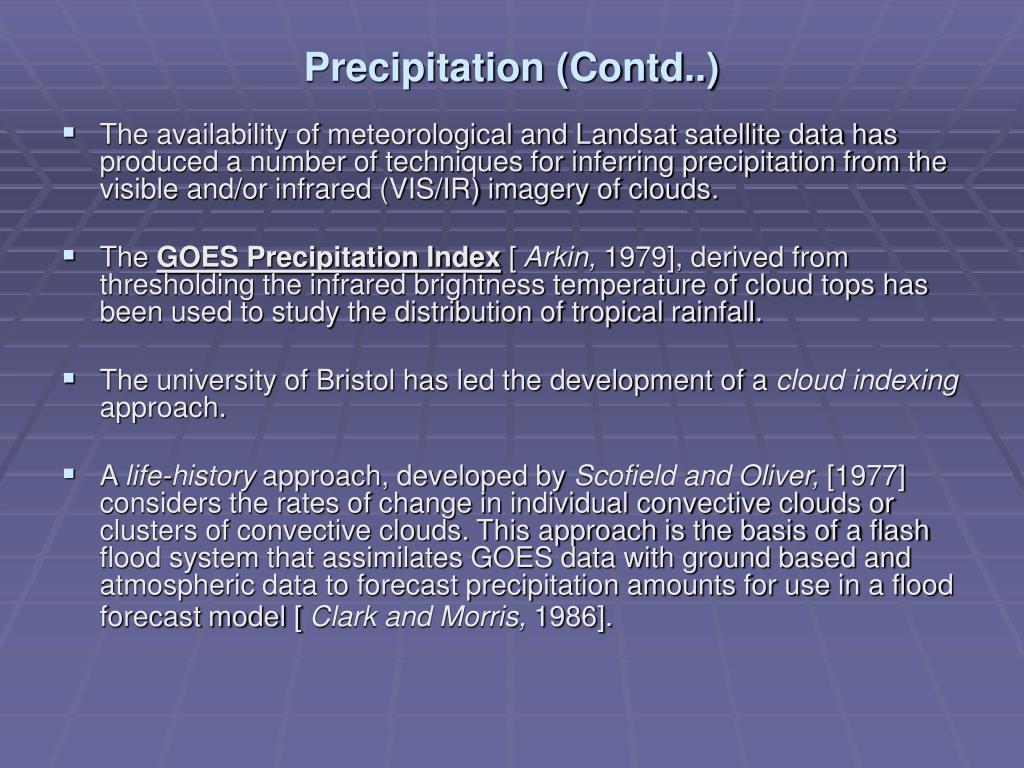 Precipitation (Contd..)