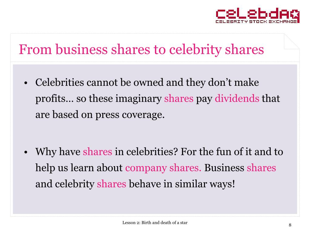 From business shares to celebrity shares