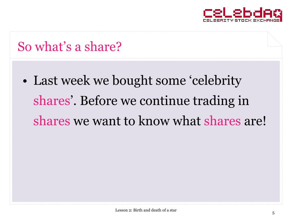 So what's a share?