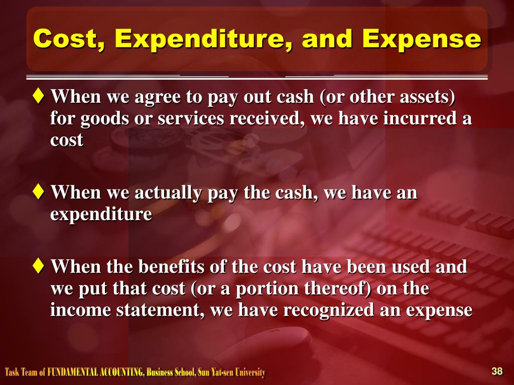 Cost, Expenditure, and Expense