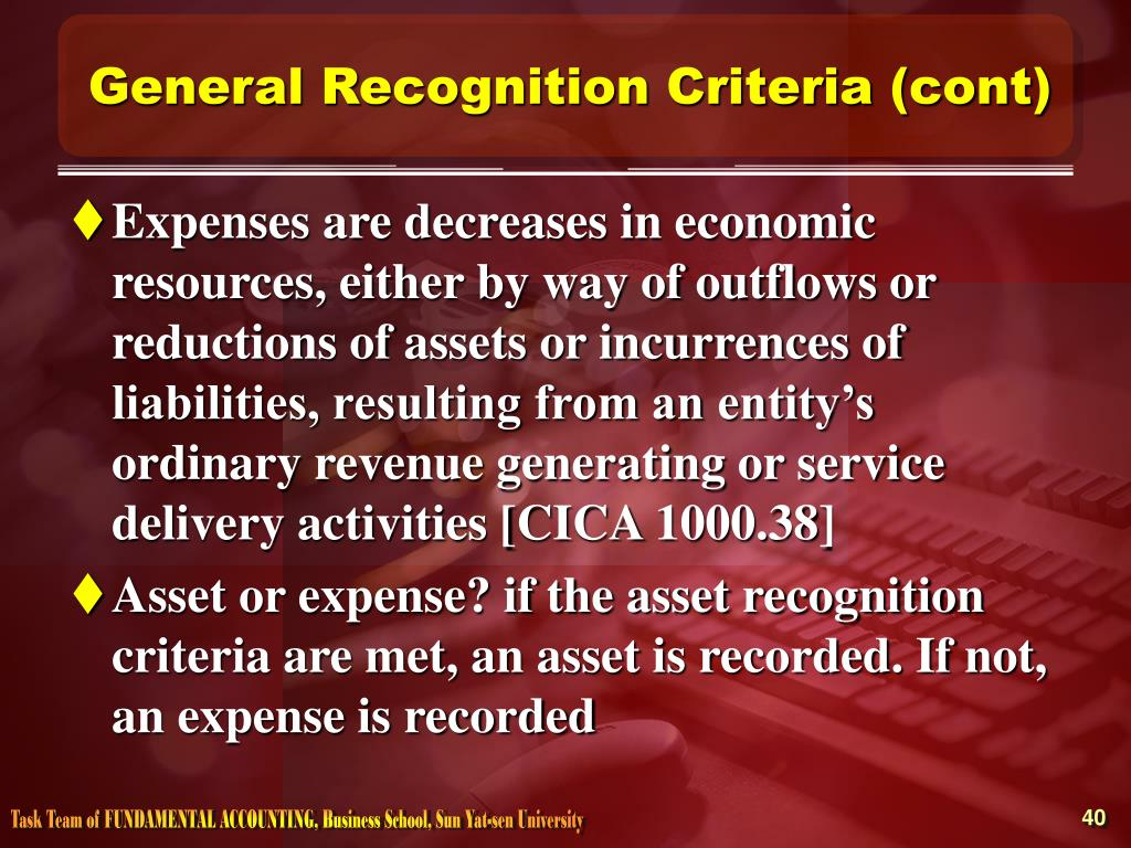 General Recognition Criteria (cont)
