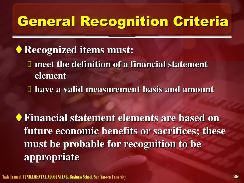 General Recognition Criteria