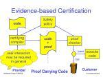 evidence based certification