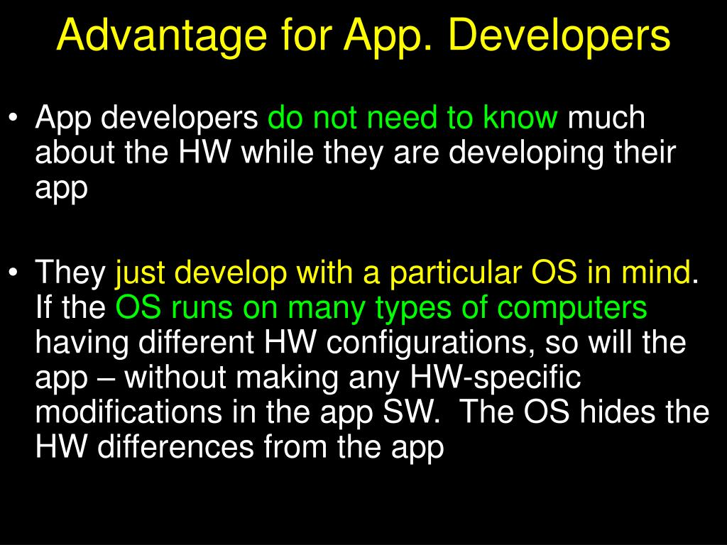 Advantage for App. Developers