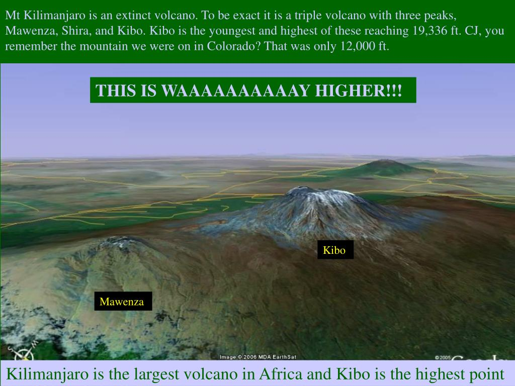 Mt Kilimanjaro is an extinct volcano. To be exact it is a triple volcano with three peaks, Mawenza, Shira, and Kibo. Kibo is the youngest and highest of these reaching 19,336 ft. CJ, you remember the mountain we were on in Colorado? That was only 12,000 ft.