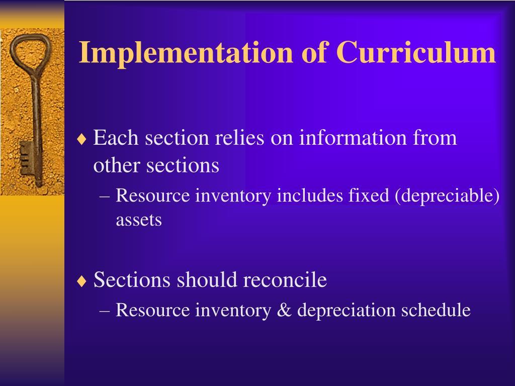 Implementation of Curriculum