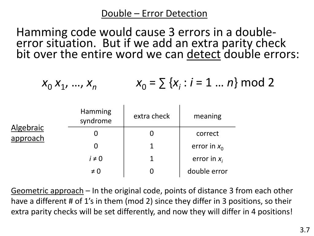 Double – Error Detection