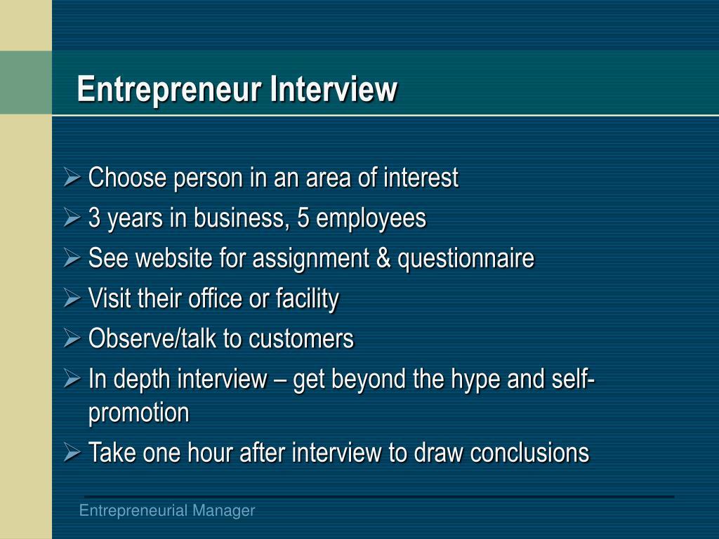 Entrepreneur Interview