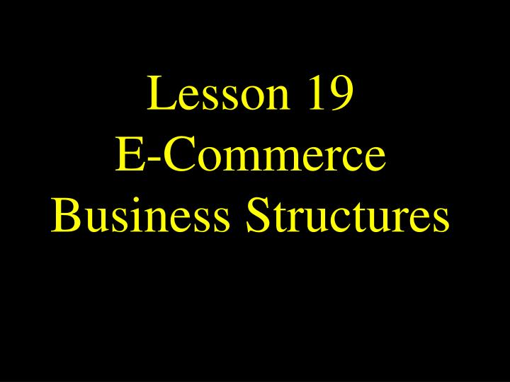 Lesson 19 e commerce business structures