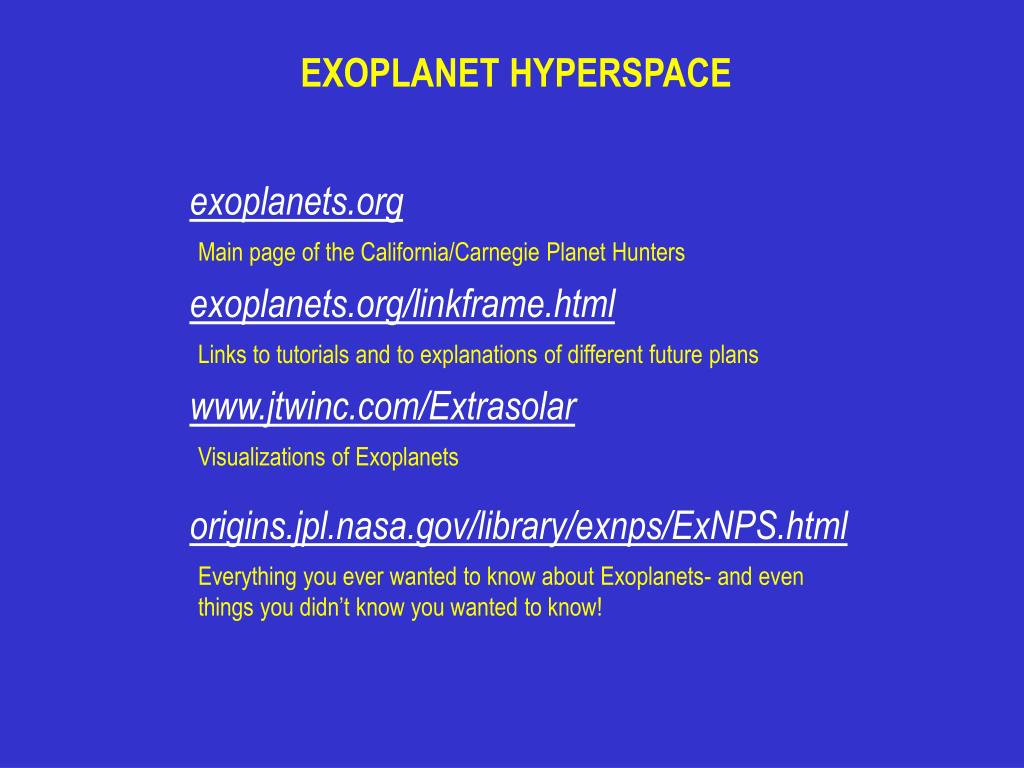 EXOPLANET HYPERSPACE