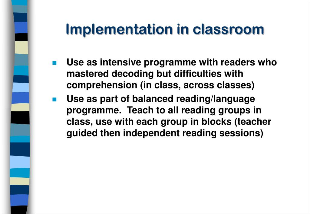 Implementation in classroom