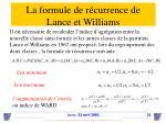 la formule de r currence de lance et williams