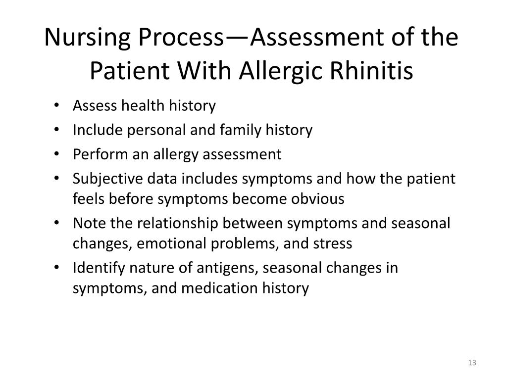 Nursing Process—Assessment of the Patient With Allergic Rhinitis