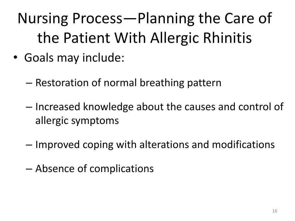 Nursing Process—Planning the Care of the Patient With Allergic Rhinitis