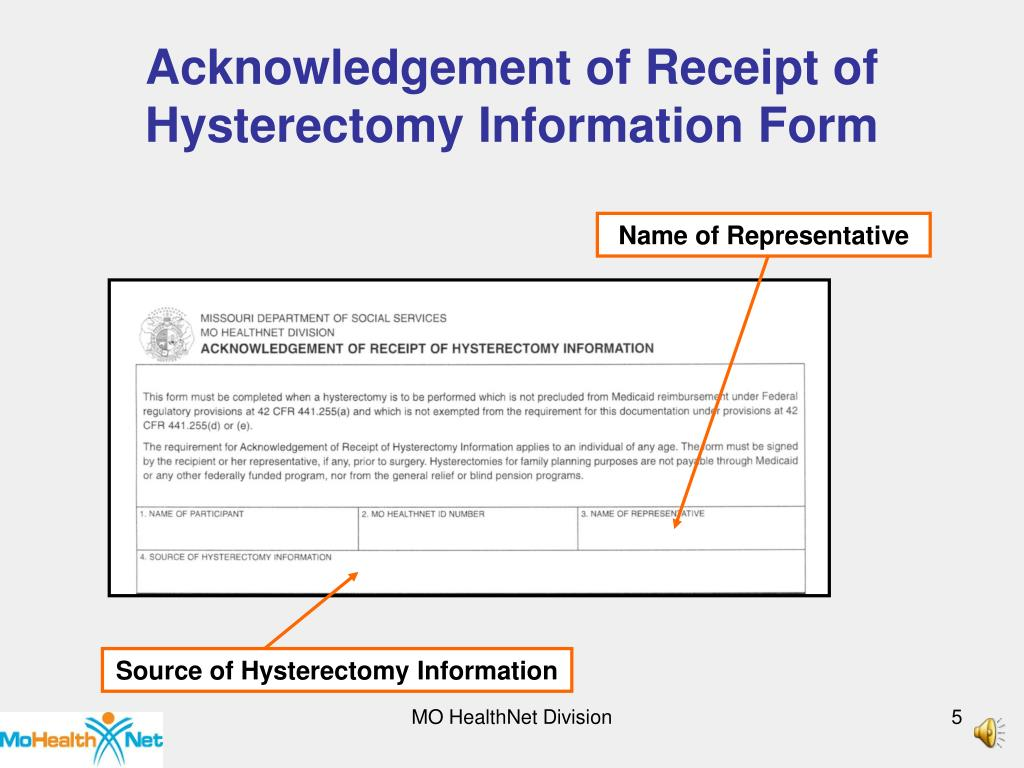 Acknowledgement of Receipt of
