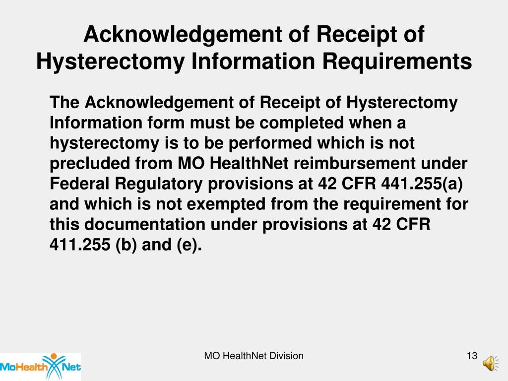 Acknowledgement of Receipt of Hysterectomy Information Requirements