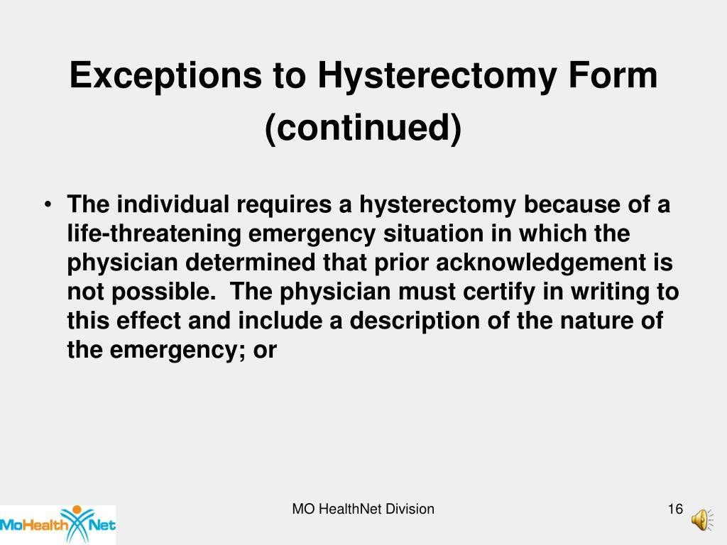 Exceptions to Hysterectomy Form