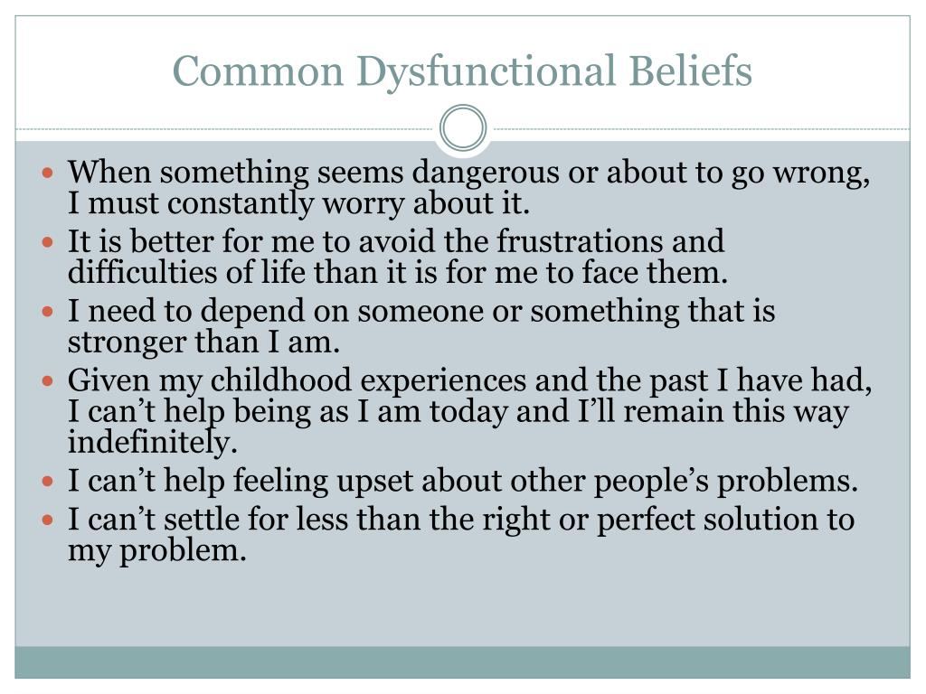 Common Dysfunctional Beliefs