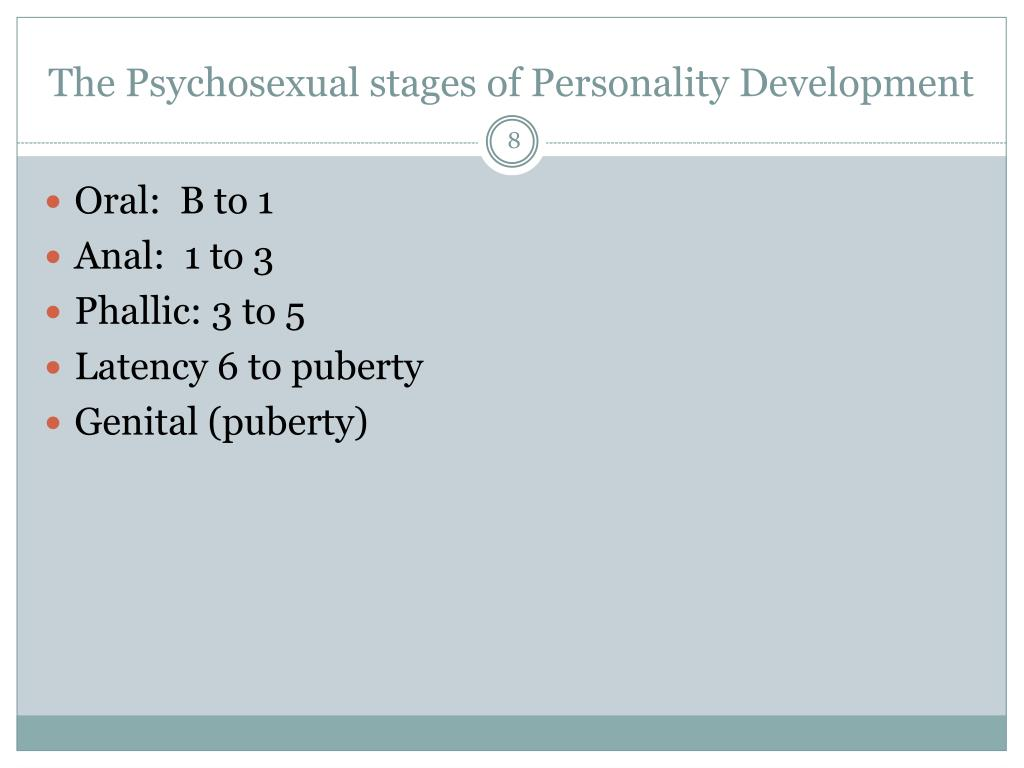 The Psychosexual stages of Personality Development