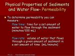 physical properties of sediments and water flow permeability11