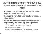 age and experience relationships sri kurniawan jason allaire and darin ellis 1999