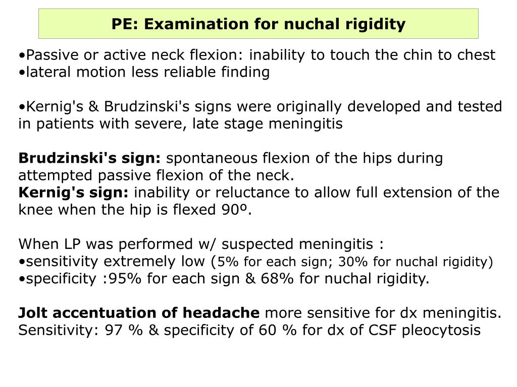 PE: Examination for nuchal rigidity