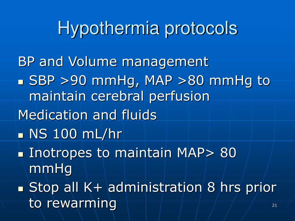 Hypothermia protocols