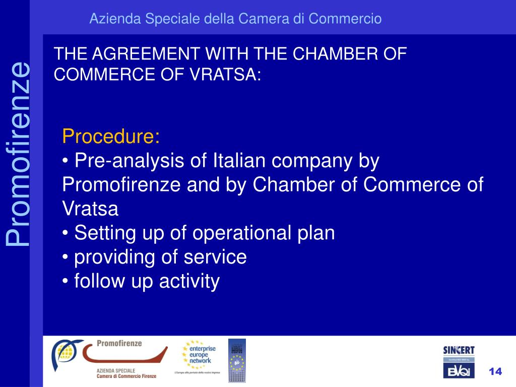 THE AGREEMENT WITH THE CHAMBER OF COMMERCE OF VRATSA: